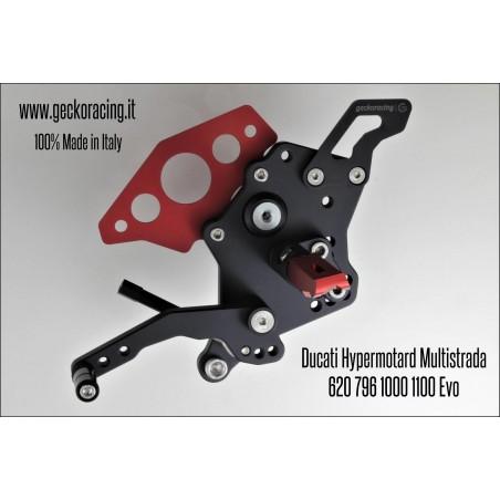 Pedane arretrate regolabili Ducati Hypermotard 620 796 1000 1100 Evo Multistrada cambio