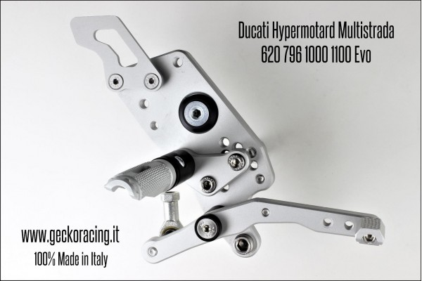 Pedane arretrate regolabili Ducati Hypermotard 620 796 1000 1100 Evo Multistrada freno